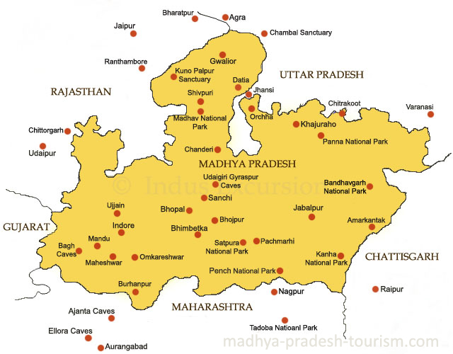 Ujjain India Map.Madhya Pradesh Map Madhya Pradesh Guide Map Tourist Map Road Map